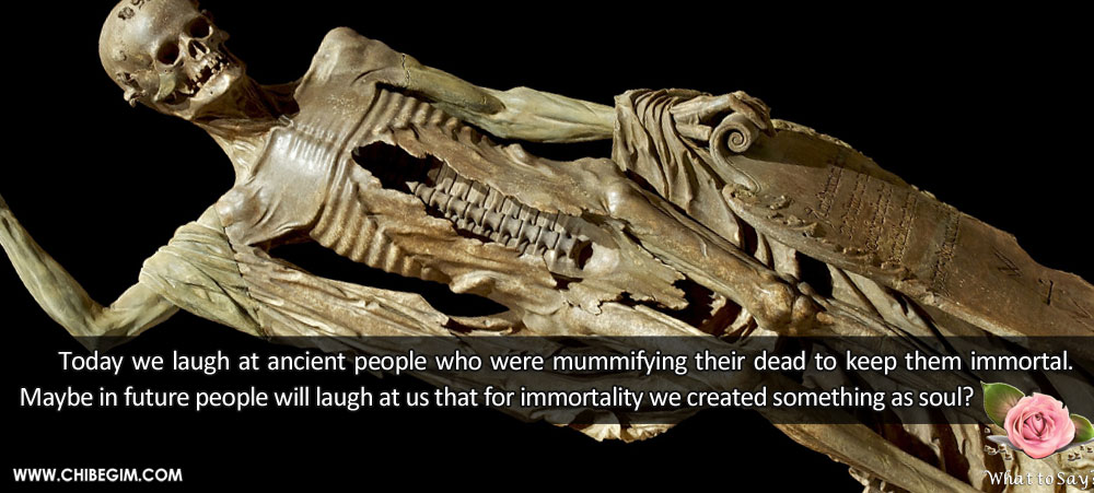 Today we laugh at ancient people who were mummifying their dead to keep them immortal. Maybe in future people will laugh at us that for immortality we created something as soul?