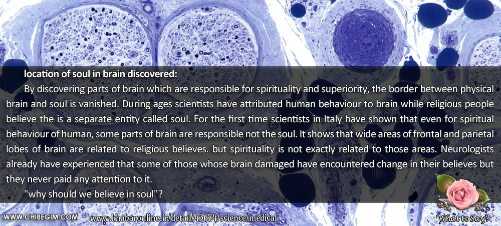 location of soul in brain discovered: 	By discovering parts of brain which are responsible for spirituality and superiority, the border between physical brain and soul is vanished. During ages scientists have attributed human behaviour to brain while religious people     believe the is a separate entity called soul. For the first time scientists in Italy have shown that even for spiritual            behaviour of human, some parts of brain are responsible not the soul. It shows that wide areas of frontal and parietal lobes of brain are related to religious believes. but spirituality is not exactly related to those areas. Neurologists already have experienced that some of those whose brain damaged have encountered change in their believes but they never paid any attention to it.